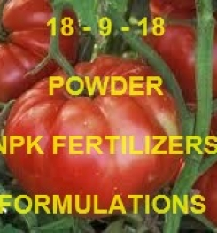 18 - 9 - 18 POWDER FOLIAR AND DRIPPING NPK FERTILIZER FORMULATIONS AND MANUFACTURING PROCESSES