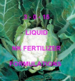 3 - 0 - 15 LIQUID FOLIAR AND DRIPPING NK FERTILIZER FORMULATIONS AND MANUFACTURING PROCESSES